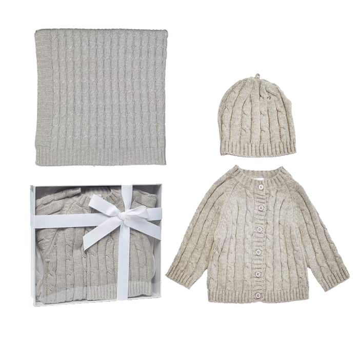 BOXED CABLE KNIT CARDIGAN, BLANKET & HAT BABY GIFT