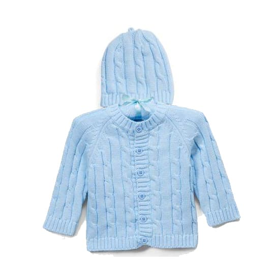 Blue Cardigan & Hat Box Set