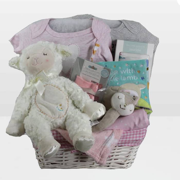 Lamb Baby Girl Gift Basket