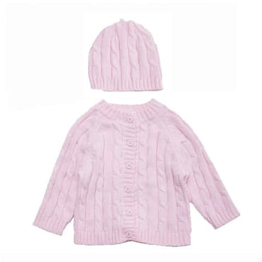 Pink Boxed Cable Knit Cardigan & Hat