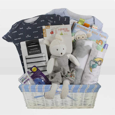 Baby Boy Lamb Gift Basket