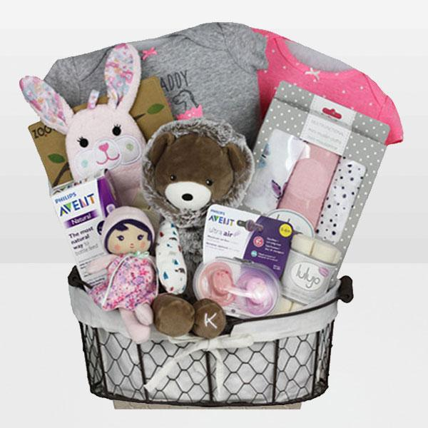 Baby Girl Kaloo Bear<BR>Filoo by Kaloo Gaston Bear-Age Bith & Up, Onesie 100% cotton by Carter's,  Zoocchini Beatrice the Bunny 100% Cotton Bath Mitts, Lulujo 100% cotton Organic Face Cloths and More - Baby Gifties