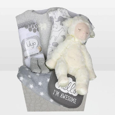Neutral Lamb Basket<BR>Lamb plush toy By Douglas, Set of 2 Onesies 100% cotton from Carters, Pair of Socks, Bib from Carters, Fleece Soft blanket 100% Cotton and More - Baby Gifties
