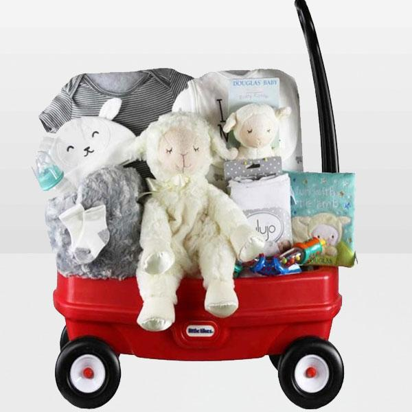 Neutral baby wagon<BR>Lamb plush toy from Douglas, Lamb rattle from Douglas, Baby lamb soft baby story, Colorful rattle, Grey soft fleece blanket, Baby Bottle and More - Baby Gifties