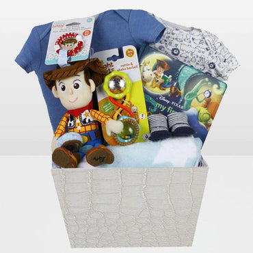 "Toy Story Woody Baby Basket<BR>Carter's 100% Cotton Onesie Carter's 100% Cotton Onesie Woody Plush Toy Stroller clip Toy Story Book Fleece Blanket 100% cotton size 30""x40"" and more - Baby Gifties"