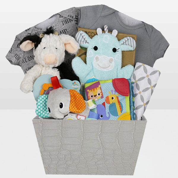 Neutral Bundle of Joy<BR>Zoocchini 100% Cotton Bath Mitts – Henry the Hippo, Receiving blanket, Bright Starts Elephant taggies for stroller, Bright Starts – Chime Along Friends Take-Along Book, Mary Meyer cow plush toy -Age Birth & Up and More - Baby Gifties
