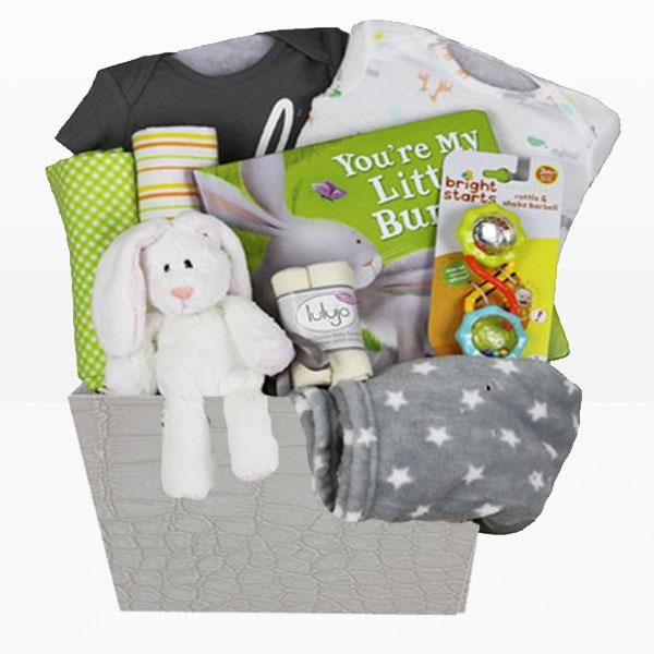 Neutral Bunny Basket<BR>Set of 2 Onesies 100% cotton by Carter's, Lulujo 100% organic cotton faceclothes, Set of 2 Receiving blanket 100% cotton, Rattle and shake barbell by Bright Starts, Grey super soft fleece blanket and More - Baby Gifties