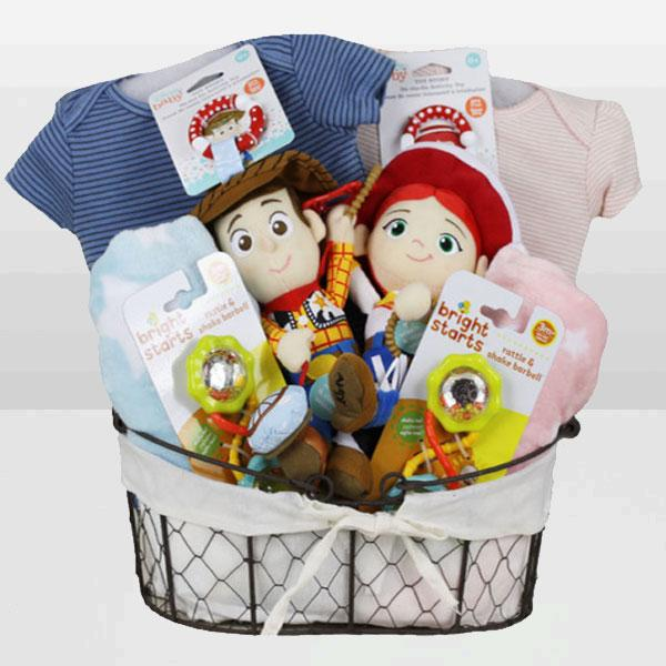 Toy Story Woody & Jessie Twin Basket - Baby Gifties