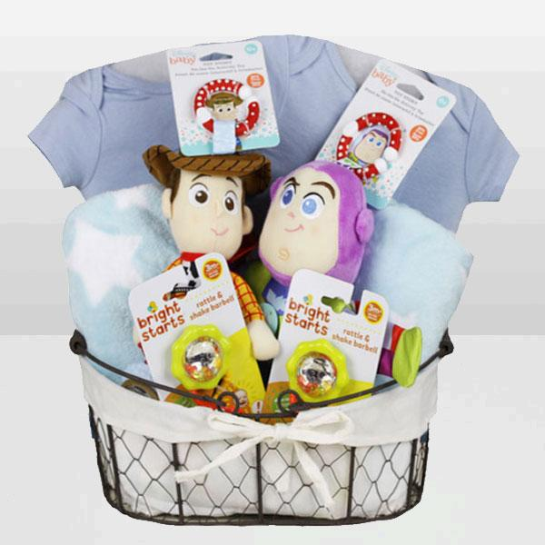 Toy Story Woody & Buzz Twin Basket - Baby Gifties