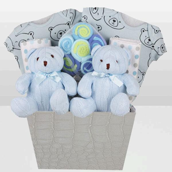 Twins Blue Bear Basket<BR>Onesies 100% Cotton by Carter's, Lollipop pack of 12 Washcloths, Receiving blankets and More        Onesies 100% Cotton by Carter's  Blue Knitted Bear Plush Toy - Baby Gifties