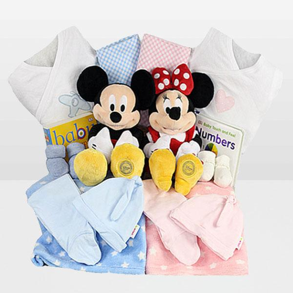 Twin Mickey and Minnie<BR>Mickey Mouse, Minnie Mouse plush toy Pink,  onesie plush toy, Blue onesie 100% cotton by Carter, Blue fleece blanket 100% Cotton and More - Baby Gifties