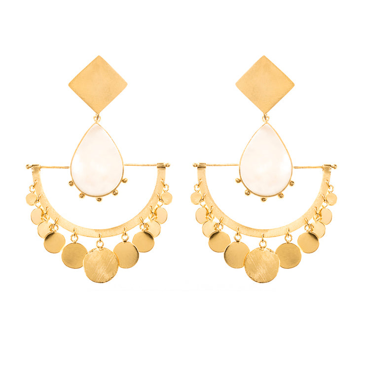 Mictla Earrings / Mother Pearl