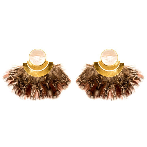 Xen Earrings With Mother Pearl And Feathers Gld