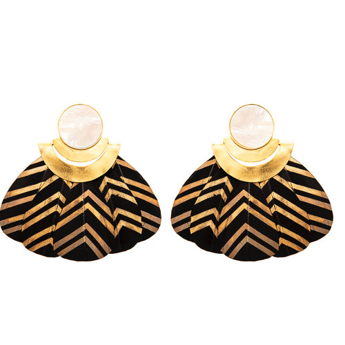 Kukulkán Black Earrings / Mother Pearl