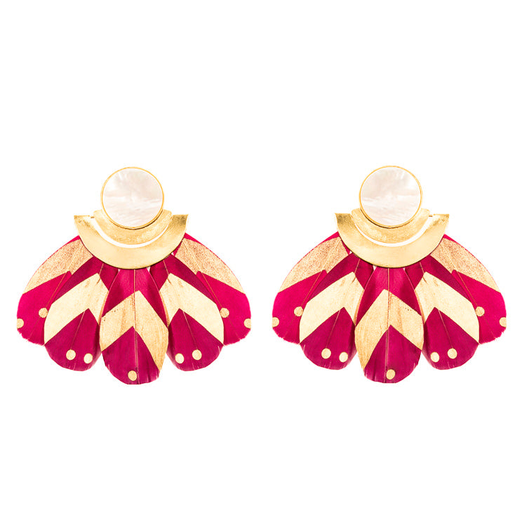 Kukulkán Burgundy Earrings / Mother Pearl