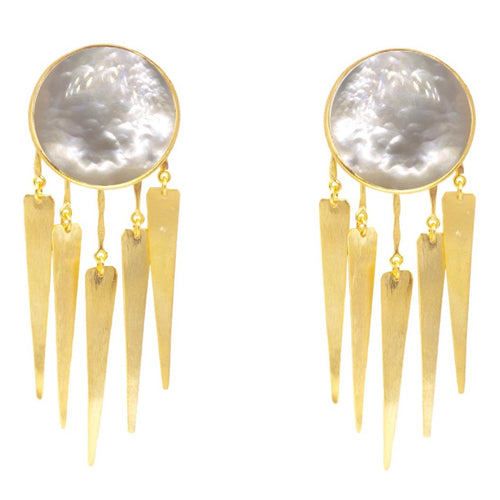 Lion Jellyfish Earrings / Mother pearl