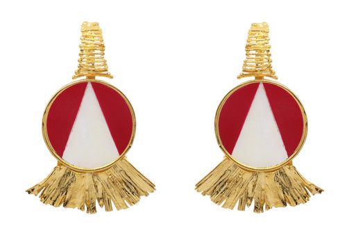 Ray Earrings / Mother pearl and coral