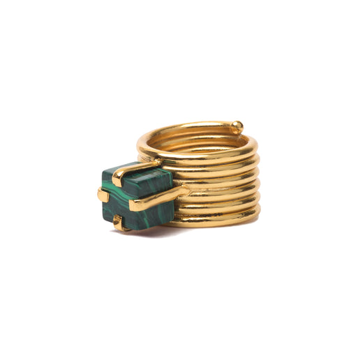 Square ring with Malachite