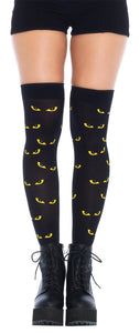 Opaque Spooky Eyes Printed Thigh-Highs