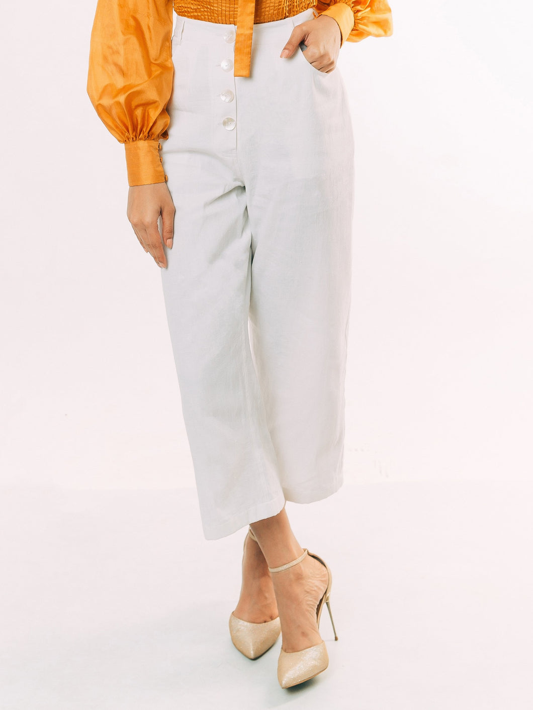 White Denim Cropped Culottes