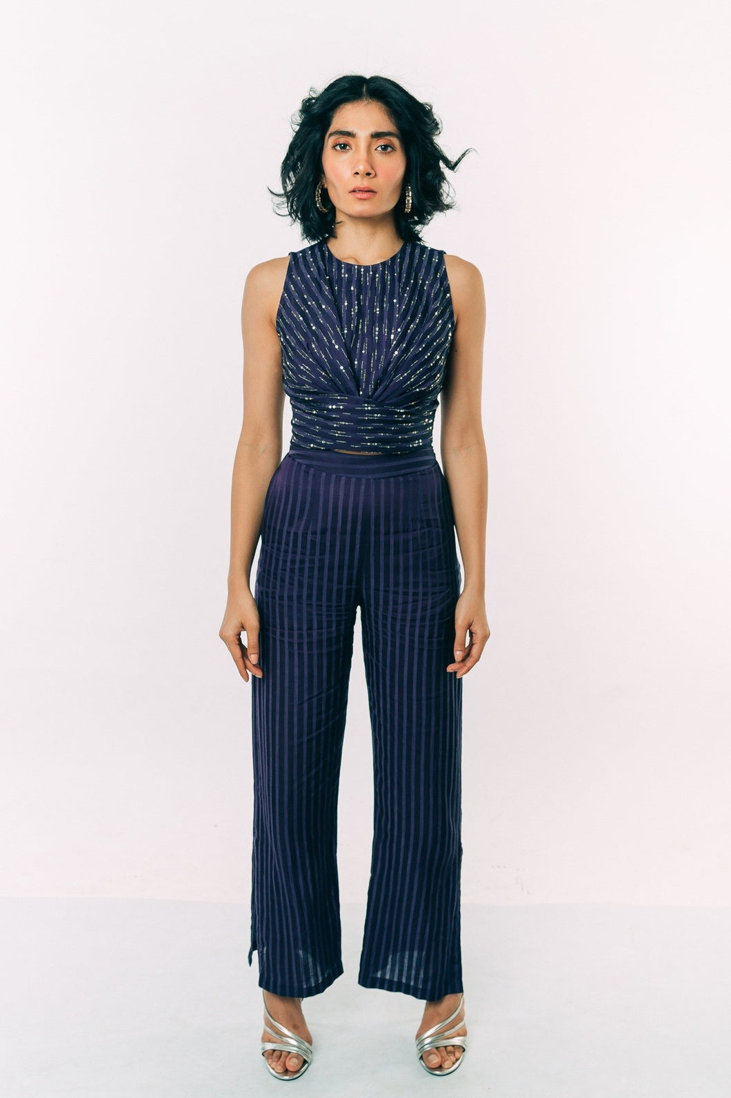 Blue Sequin Crop Top With Striped Pants
