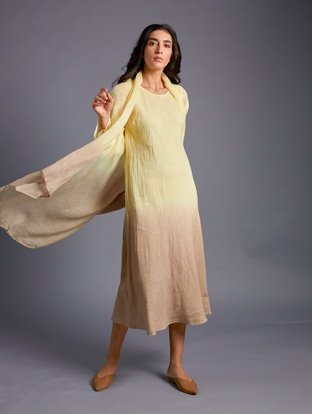 Vai Hand-Dyed Linen Cape Lemon