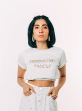 Load image into Gallery viewer, White Slogan Embroidered Crop Top