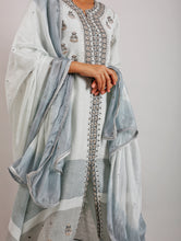 Load image into Gallery viewer, Taban Silk Hand-Embroidered Ombre Dyed Grey Dupatta