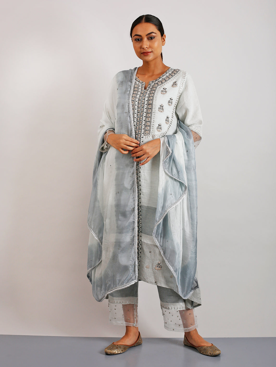 Taban Silk Hand-Embroidered Ombre Dyed Grey Dupatta