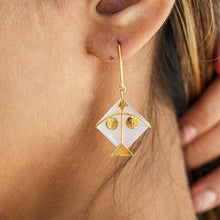 Load image into Gallery viewer, Fighter Kite Small Moonstone 2 Eye Earring