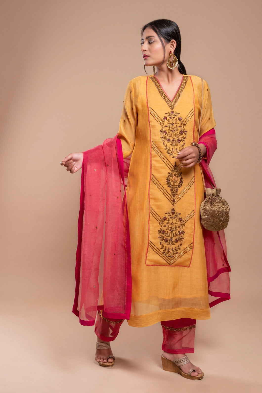 Yellow Silk Chanderi Zardozi Kurta Set of 3