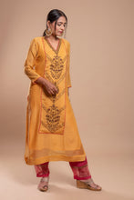 Load image into Gallery viewer, Yellow Silk Chanderi Zardozi Kurta Set of 3
