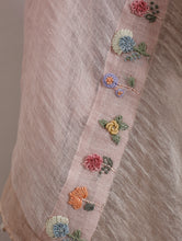 Charger l'image dans la galerie, Bette Hand-Embroidered Floral Metallic Linen Dupatta- Blush