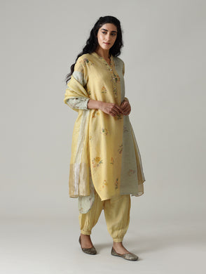 Linen kurta set, pastel blue kurta, hand embroidered kurta set, sober party wear kurta set, Straight pant kurta set, party wear suit, designer party wear suits, long kurta set with pants and dupatta, high low kurta with pants