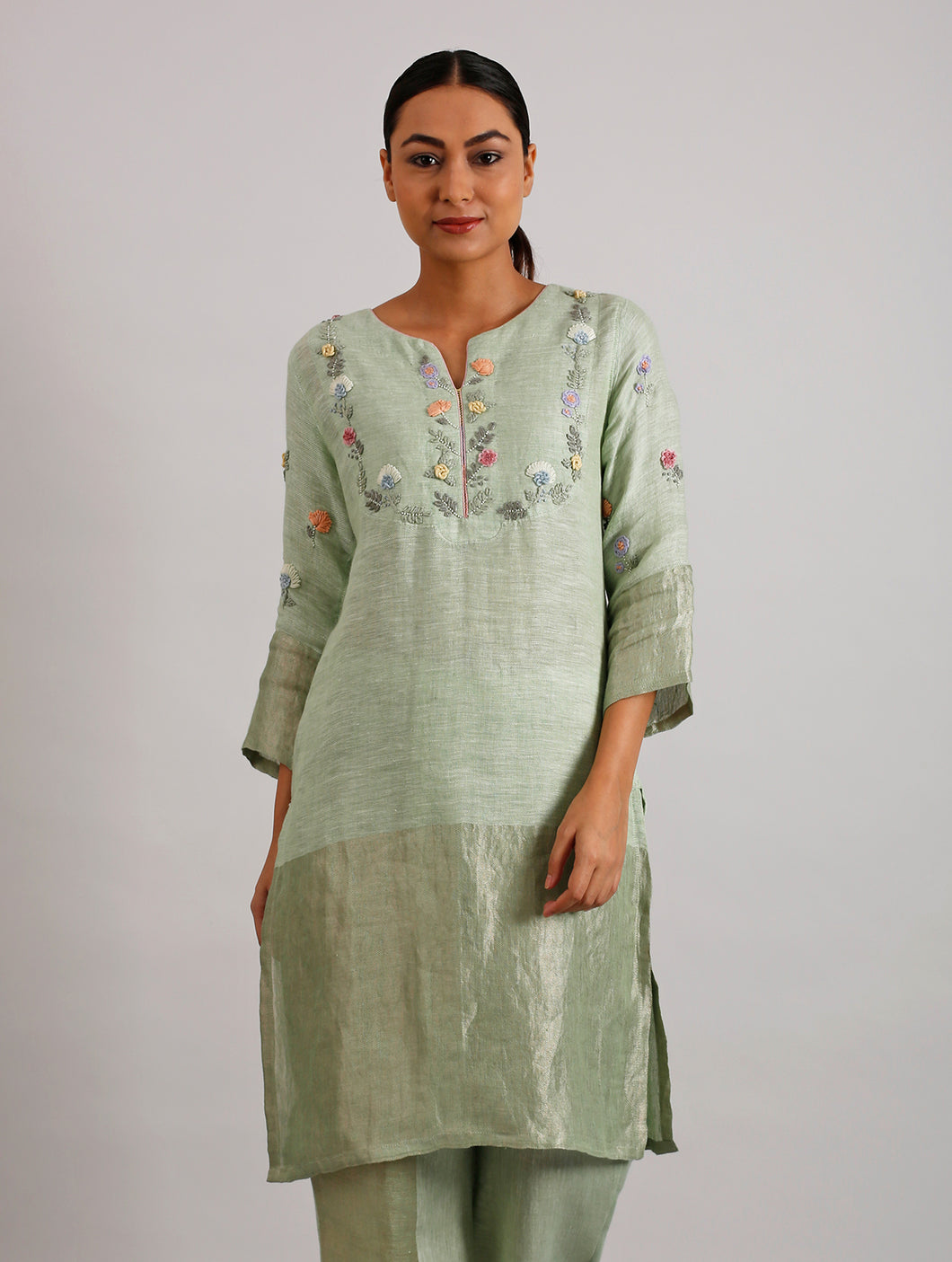 Celia Hand Embroidered Metallic Linen Kurta- Lime