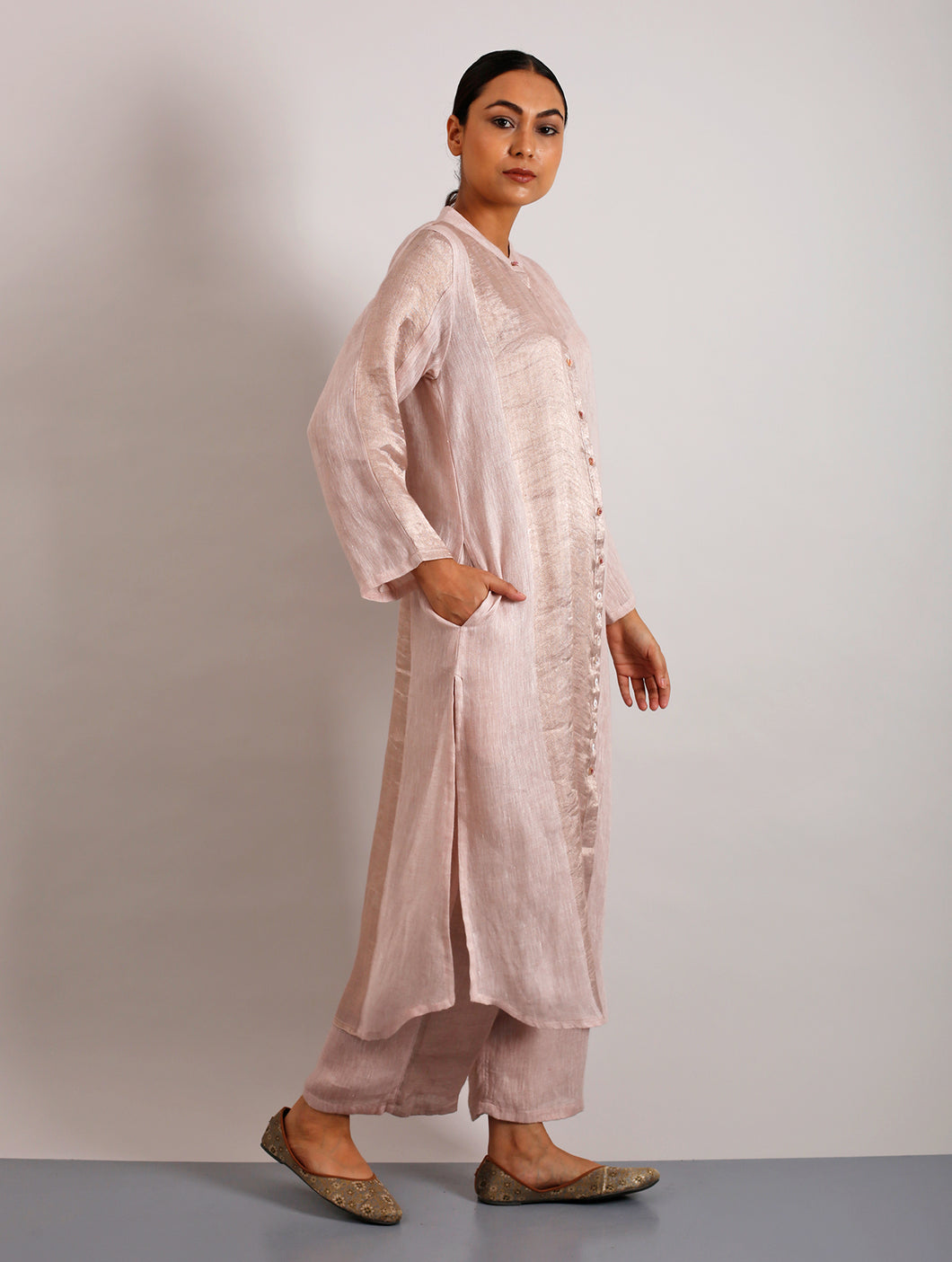 Clara Metallic Linen Long Shirt Dress- Blush