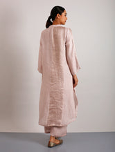 Load image into Gallery viewer, Clara Metallic Linen Long Shirt Dress- Blush