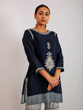 Load image into Gallery viewer, Ezra Appliqued And Hand-Embroidered Short Kurta