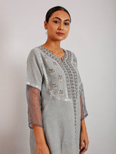 Load image into Gallery viewer, Erhi Gotapatti And Hand-Embroidered Grey Kurta Set with Pants and Dupatta