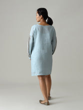 Load image into Gallery viewer, Riva Metallic Linen Dress- Blue