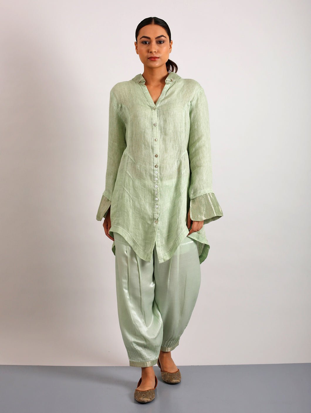 Danielle Metallic Linen Asymmetrical Shirt- Lime