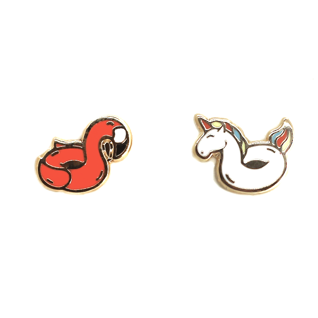 Pool Floats 22K Gold Earrings | Dog & Shark | Funny Gift Ideas