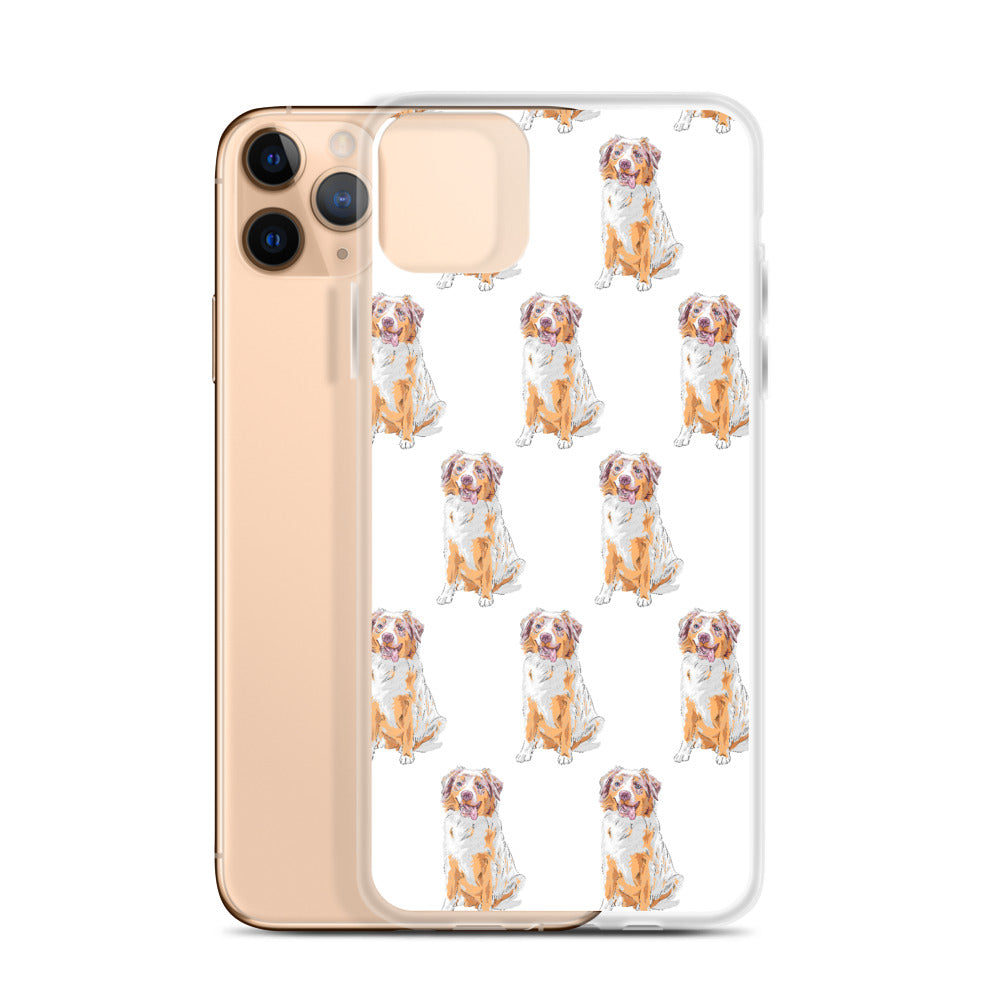 Australian Shepherd Art iPhone Case (Generations 6 - 11) | Dog & Shark | Funny Gift Ideas