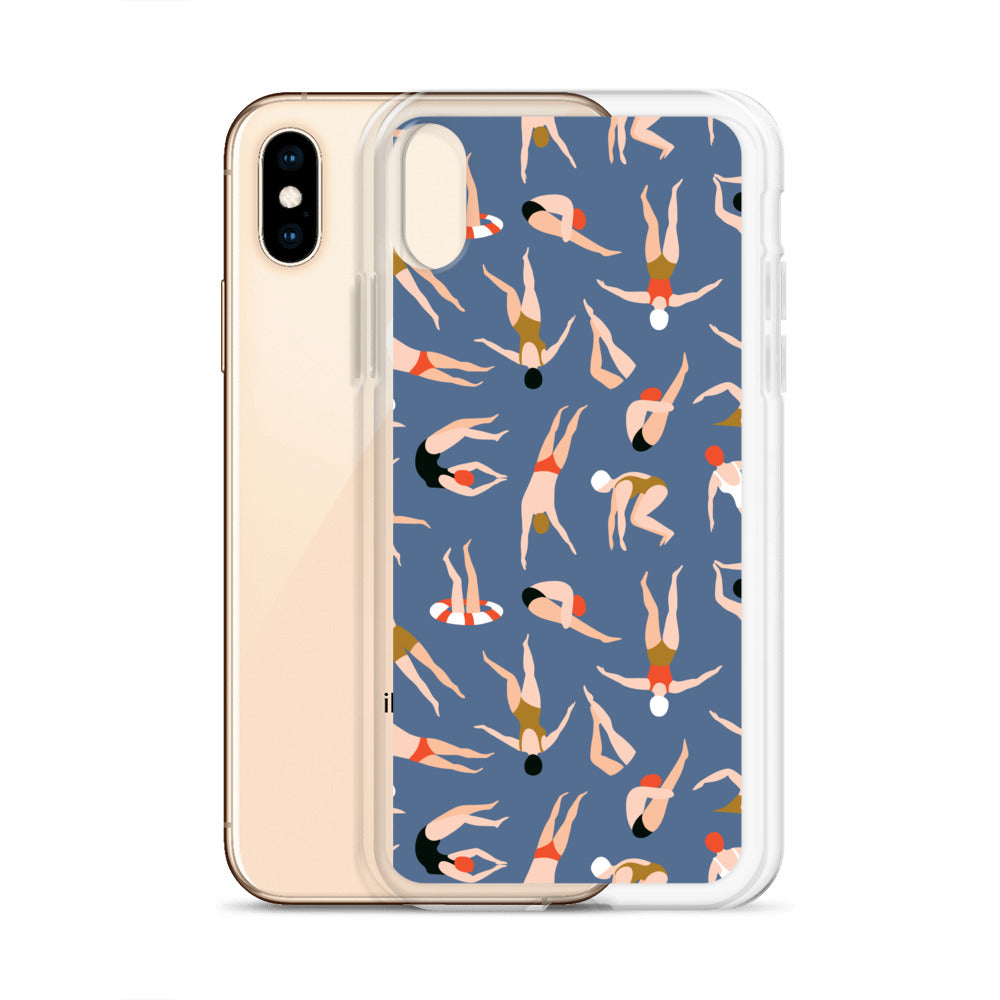 Vintage Swimmer Preppy iPhone Case (Generations 6 - 11) | Dog & Shark | Funny Gift Ideas