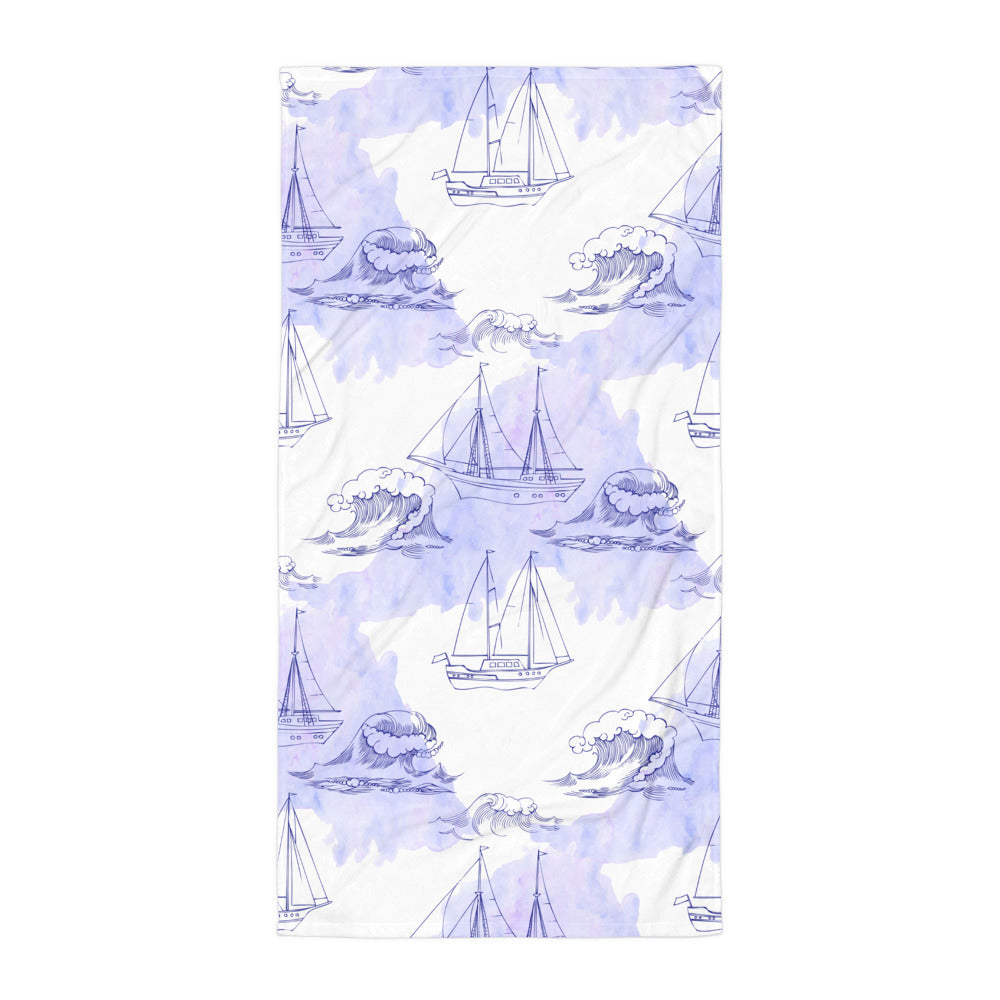 Ships and Waves Print Beach Towel | Dog & Shark | Funny Gift Ideas