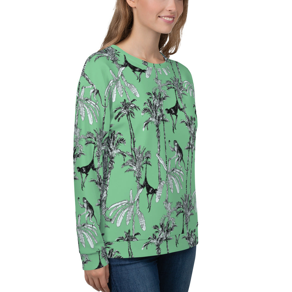 Green Toile Monkey Jungle Print Sweatshirt | Dog & Shark | Funny Gift Ideas