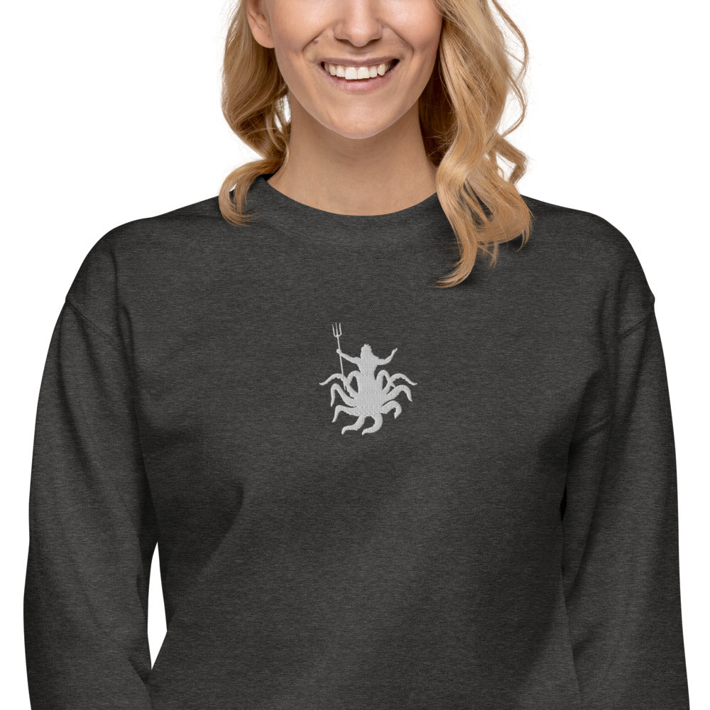 Neptune Octopus Embroidered Fleece Pullover | Dog & Shark | Funny Gift Ideas