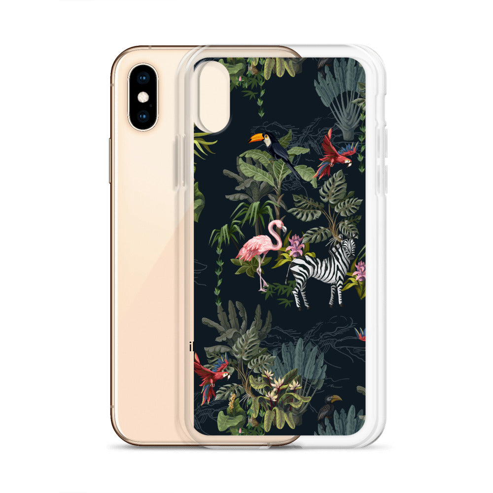 Flamingo, Zebra, Cheetah Jungle iPhone Case (Generations 6 - 11) - Dog & Shark