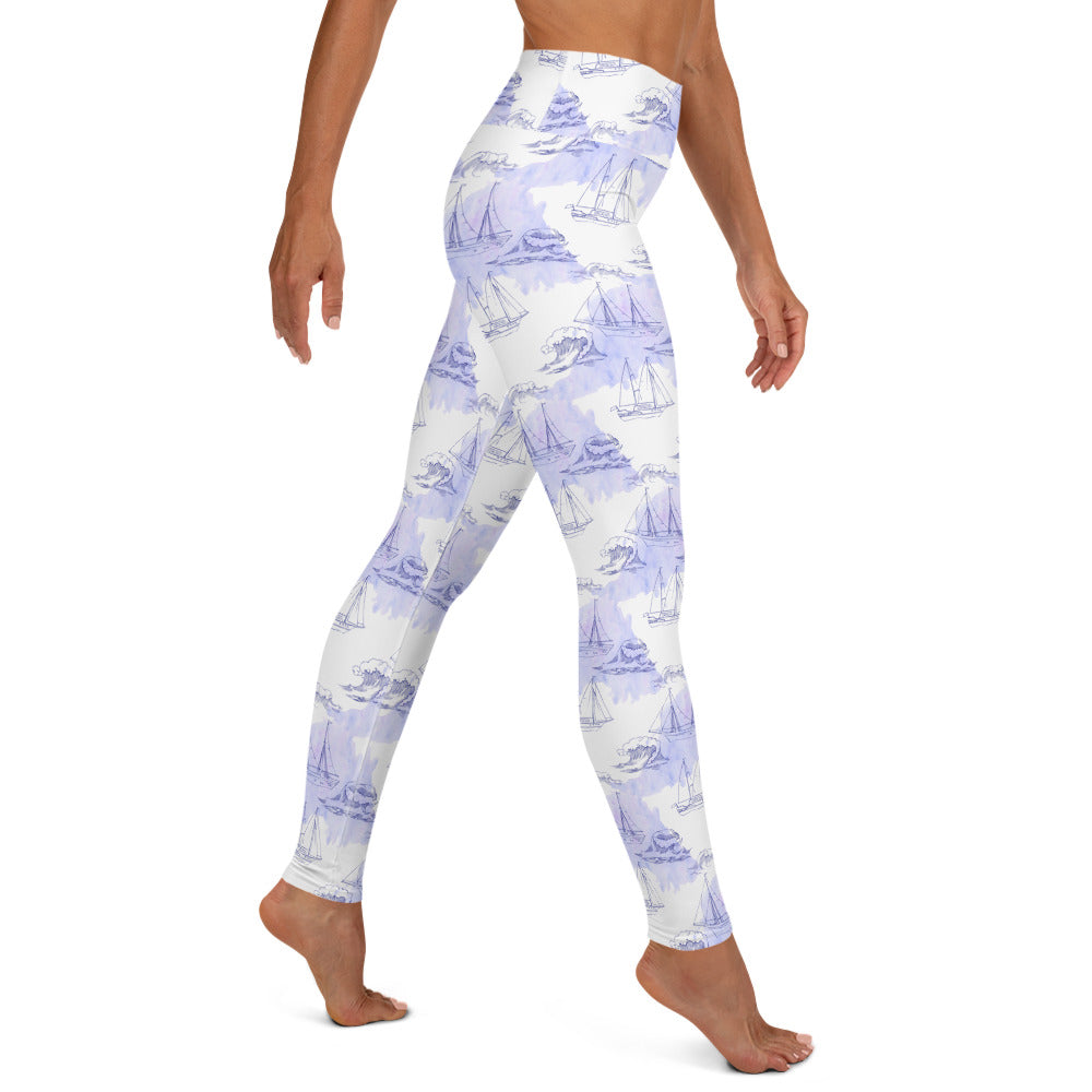 Ships and Waves Print Yoga Leggings | Dog & Shark | Funny Gift Ideas