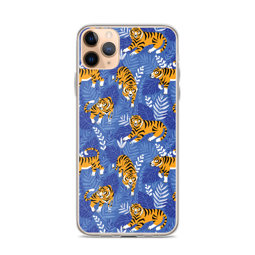 Tiger Blue Print iPhone Case (Generations 6 - 11) | Dog & Shark | Funny Gift Ideas